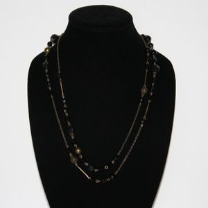 """Vintage style black and brass necklace 50"""""""